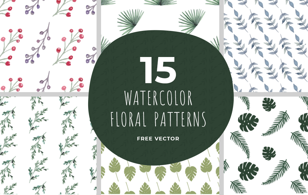Set Of 15 Watercolor Floral Vector Pattern - Vector For Free