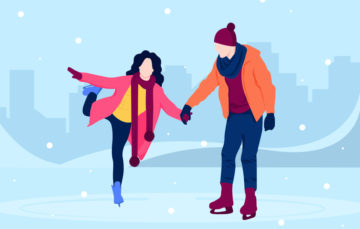 Couple Ice Skating Vector Illustration