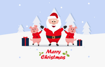 Santa And Piggies Illustration