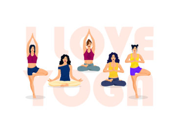 Set OF Yoga Positions Free Vector Illustration