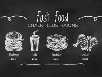 Fast Food Chalk Illustration