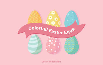 Colorfull Easter Eggs Free Vector Illustration