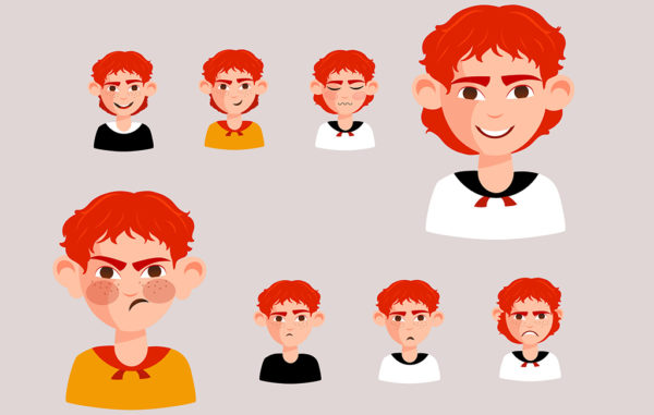 Boy Emotions Character Free Vector