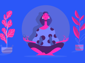 Calm Yoga Pose Lotus Illustration Free vector