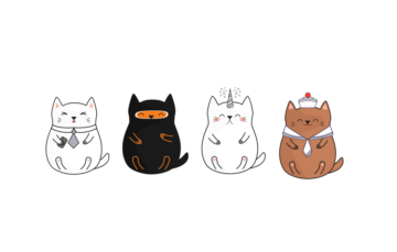 Japanese Kawai Cats Illustration Free Vector