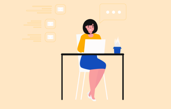 Girl Working Desk Laptop Illustration Free vector