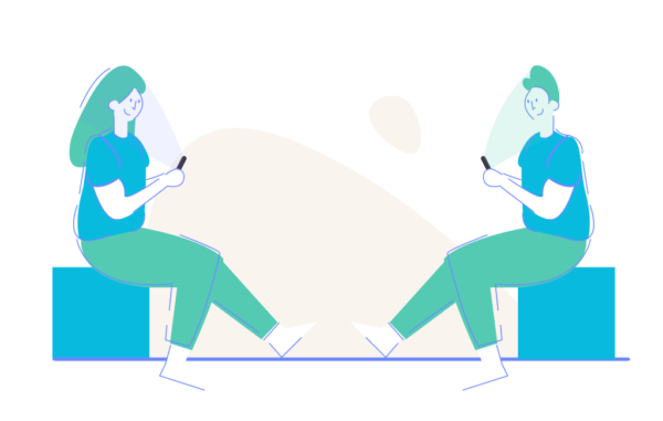 Chatting Texting Man and Woman sitting in front of each other Thinking About Project Working Illustration Free vector