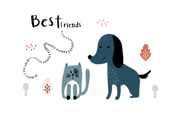 Cat and Dog Free Cute Illustration