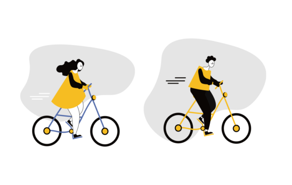 couple Bicycle Ride Free vector illustration