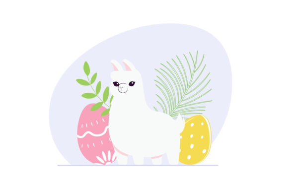 lama Easter vector illustration