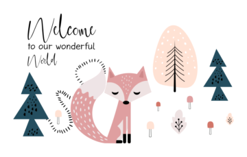 Fox in the Forest Free Cute Illustration