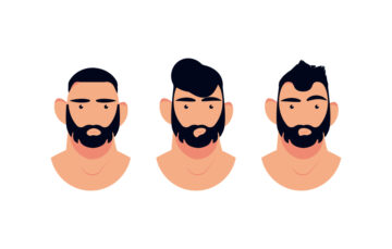 Man's Different Hair Cuts Vecotr Illustration Free Download