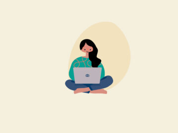 Girl With Laptop Vector Free Download