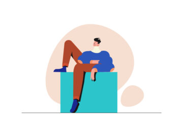 Sitting Man Illustration Free Vector