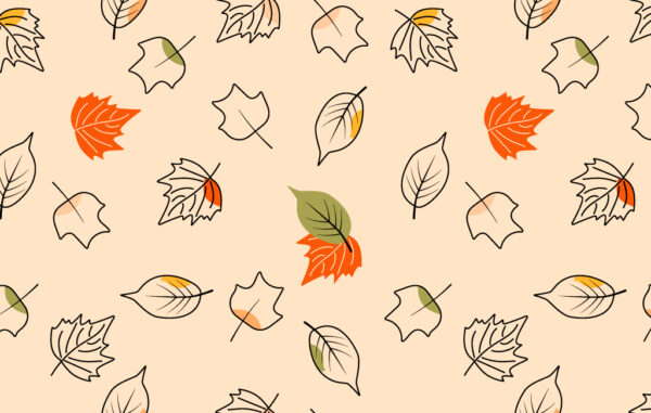 Autumn Outline Leaves Seamless Pattern Free Download