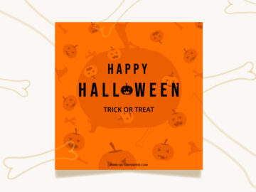 Happy Halloween Orange Vector Template Free Download