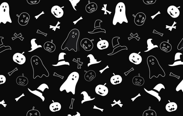 Seamless Black And White Halloween Pattern Free Download