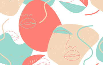 Seamless Pattern Line Art Lips And Nose Free Download