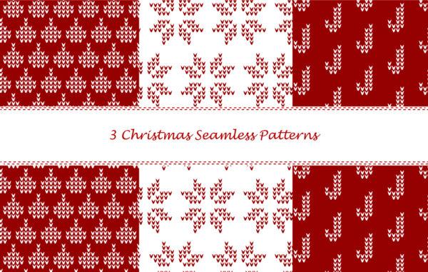 3 Christmas Seamless Patterns Free Download