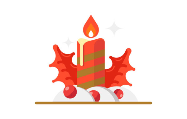 Christmas Candle Vector Illustration Free Download