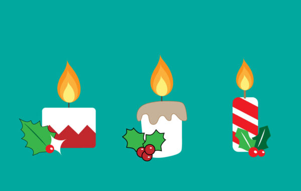 Christmas Candles Vector Illustration Free Download