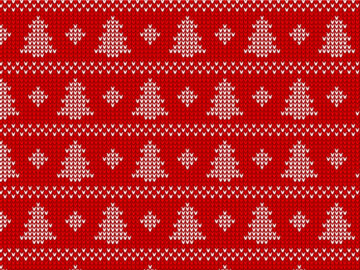 Christmas Tree Knitted Seamless Pattern Free Download