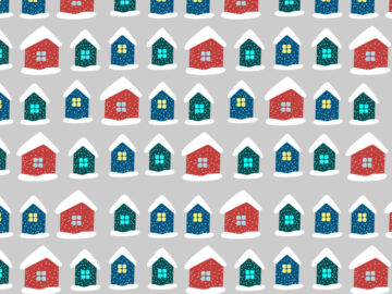 Snowy Houses Seamless Pattern Free Download