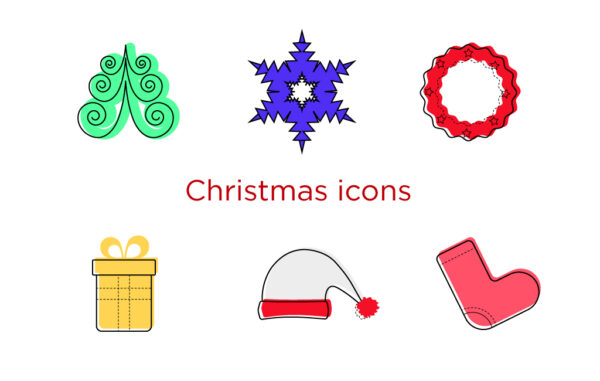 Colorful Christmas Icons Free Download