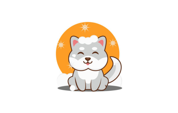Fluffy Dog In Snow Vector Illustration Free Download