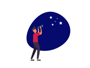 Man Looking At Stars Vector Illustration